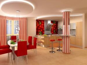 красный ремонт на кухне