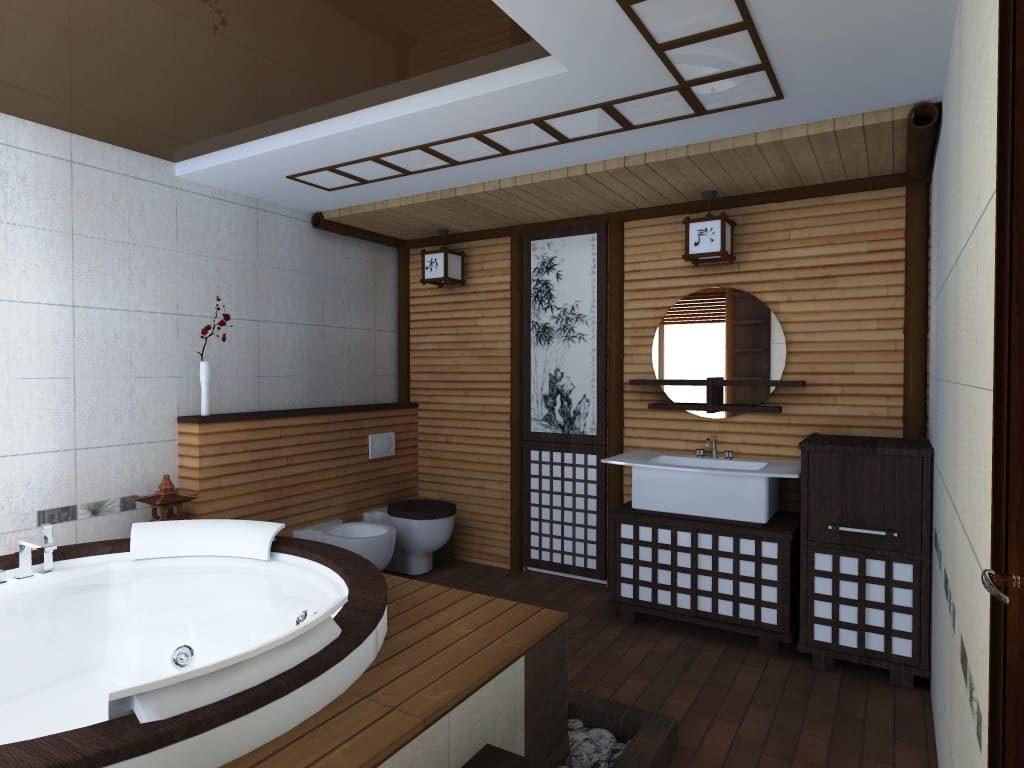 Ванная комната вяпонском стиле