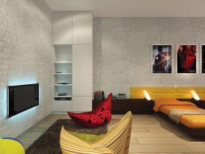 декоративный кирпич в комнате-студии